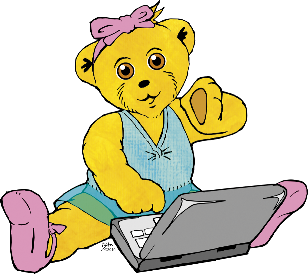 melody bear on laptop